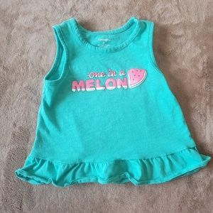 Girls Turquoise One in a Melon Ruffled Tank Top